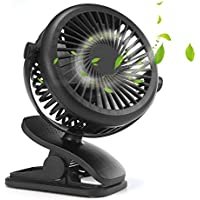 Pawaca Stroller Fan,USB Mini Portable Baby Stroller Fan,USB or Battery Powered.360°Rotating Adjustable Air Flow Control Lithium-ion for Baby Stroller Speed Portable
