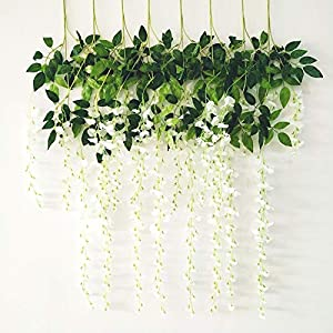 BABALI Wisteria Artificial Flowers 8 Pack 3.6FT/pcs Artificial Wisteria Vine Ratta Silk Fake Hanging Flower String Vines Garland Greenery Home Arch Party Dining Outdoor Wedding Decor 75