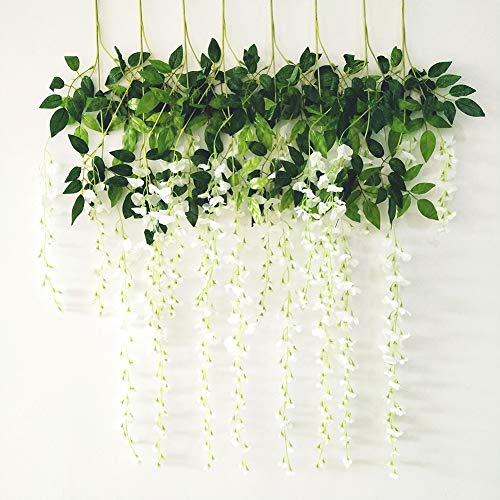 (BABALI Wisteria Artificial Flowers 8 Pack 3.6FT/pcs Artificial Wisteria Vine Ratta Silk Fake Hanging Flower String Vines Garland Greenery Home Arch Party Dining Outdoor Wedding Decor)