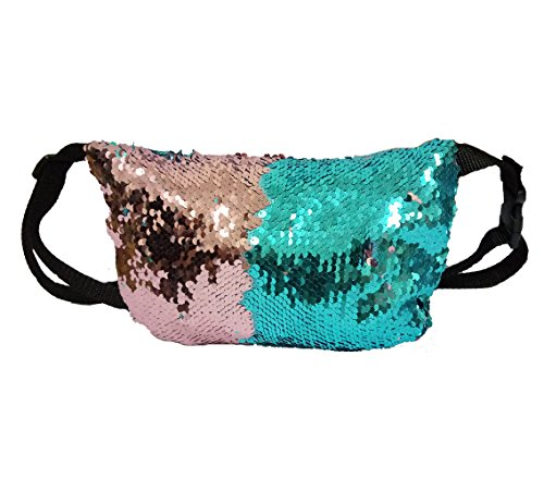 Sequin Purse (Women's Glitter Sequins Bag, Reversible Sparkling Waist Bag /Strap Should Bag ,Ladies Bling Evening Party Bag, Multifunctional Cosmetic Storage Bag)