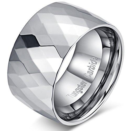 Fit Comfort Band Design (Mens 12mm Tungsten Carbide Big Metal Wedding Ring Engagement Band Domed Design High Polished Comfort Fit Size 10)