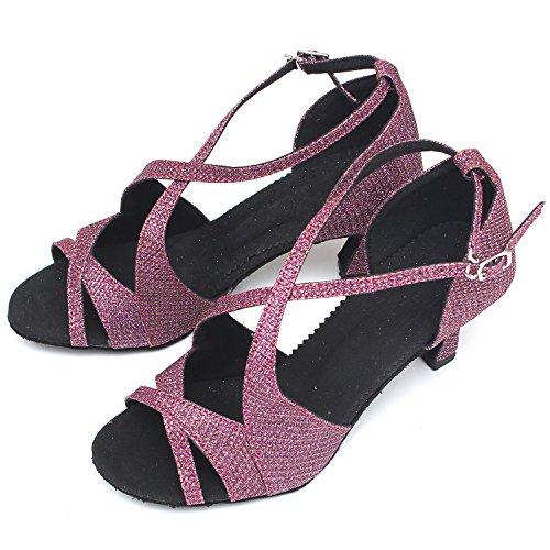 Azbro Mujer Zapato de Baile Latín Medio Tacón Correa Cruzada Puntera Abierta Negro