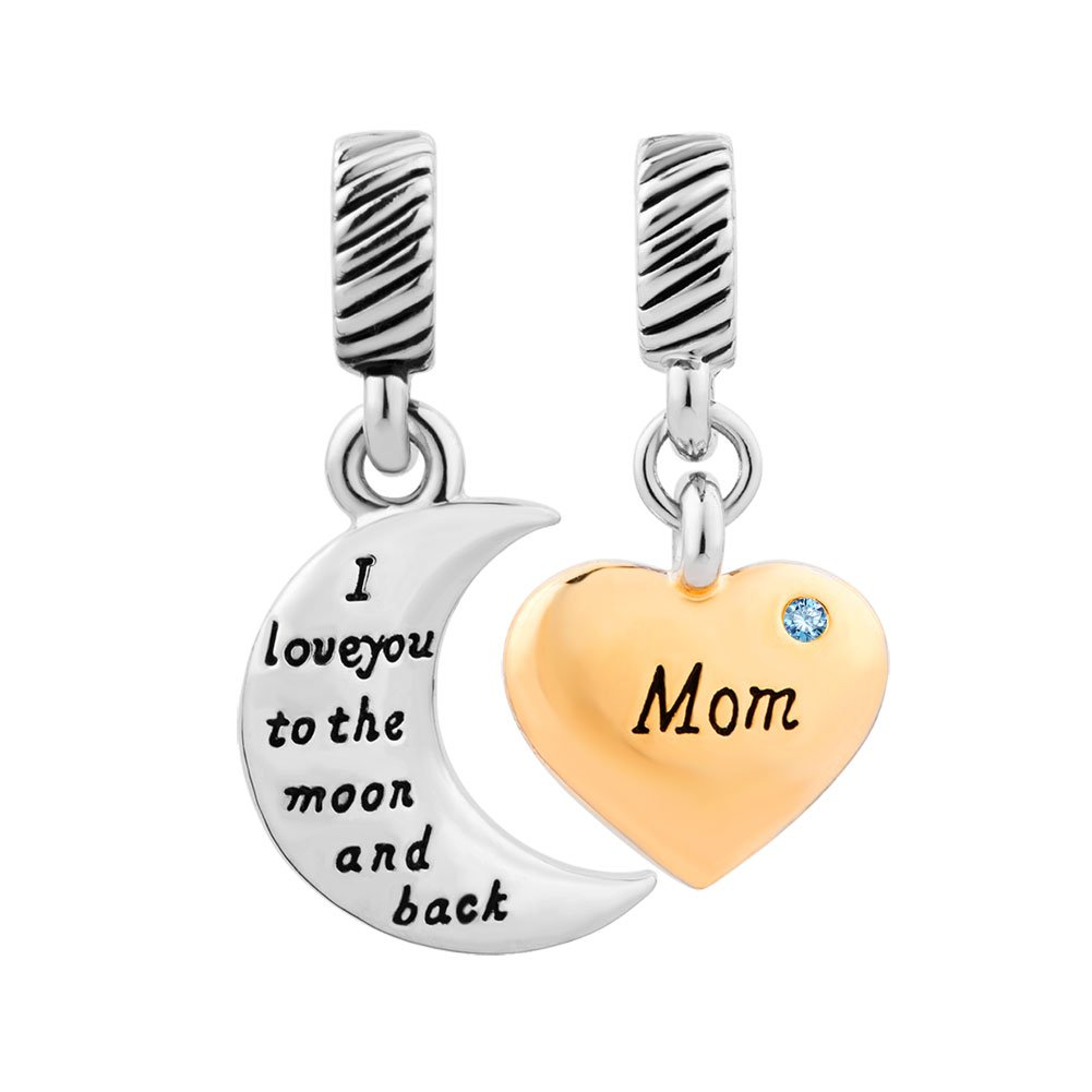 Charmed Craft Mom I Love You To The Moon And Back Crystal Heart Charms Beads For Bracelets pandöra charms DPC_YC20_X03
