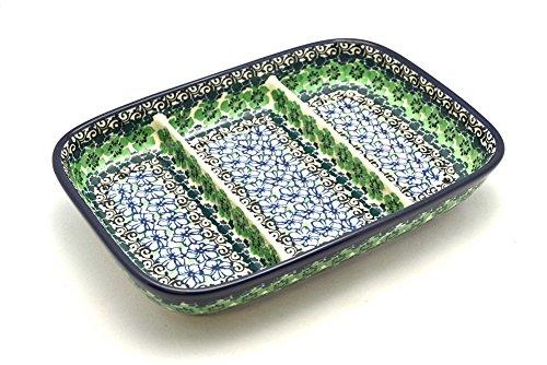 Polish Pottery Dish - Divided Rectangular - Kiwi