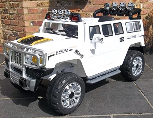 kids hummer style ride on electric 12v battery car jeep white amazoncouk toys games