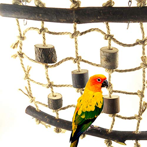 CqmzpdiC Durable, Parrot Toy, Cage Hanging Decor Parrot Climbing Net Rope Ladder Chew Bite Toys Cage Pendant Decor Pet Supplies - Wood Color