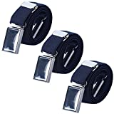 Boy Kids Magnetic Buckle Belt - Adjustable Elastic Children's Belts for Girls, 3 Pieces (Navy Blue)