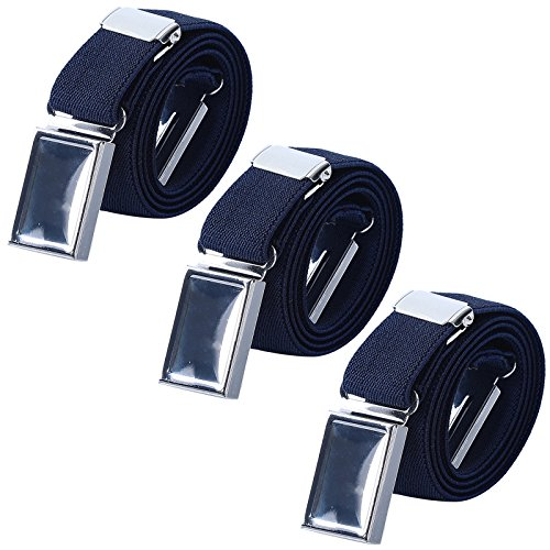 AWAYTR Kids Magnetic Belts for Boys - 3 Pcs Adjustable Elastic Toddler Belt (3Pcs Navy Blue)
