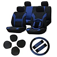 Seat Cover cciyu Universal Car Seat Cushion w/Headrest/Steering Wheel/Shoulder Pads - 100% Breathable Washable Automotive Seat Covers Replacement for Most Cars Trucks Vans (Blue on Black)