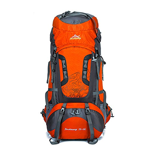 Serda Trekking Travel Pack Mountaineering Knapsack Hiking 80L Hiking Backpack Climbing Camping Backpacks Outdoor Sport Waterproof Orange AHwpSq