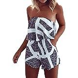 Women Sexy Off Shoulder Shorts Romper Strapless Summer Beach Jumpsuit Floral Playsuit (Grey, XL)