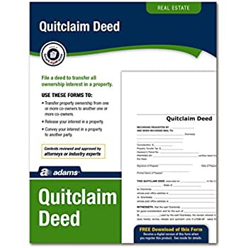 AmazonCom  Adams Quitclaim Deed Forms And Instructions Lf