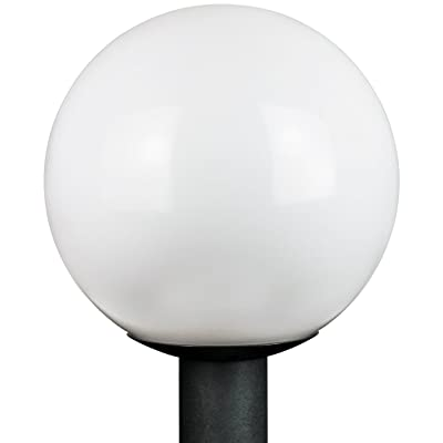 """Sunlite 47228 12"""" Decorative Outdoor Globe Polycarbonate Post Fixture, Black Finish, White Lens, 3"""" Post Mount (not included): Home Improvement"""
