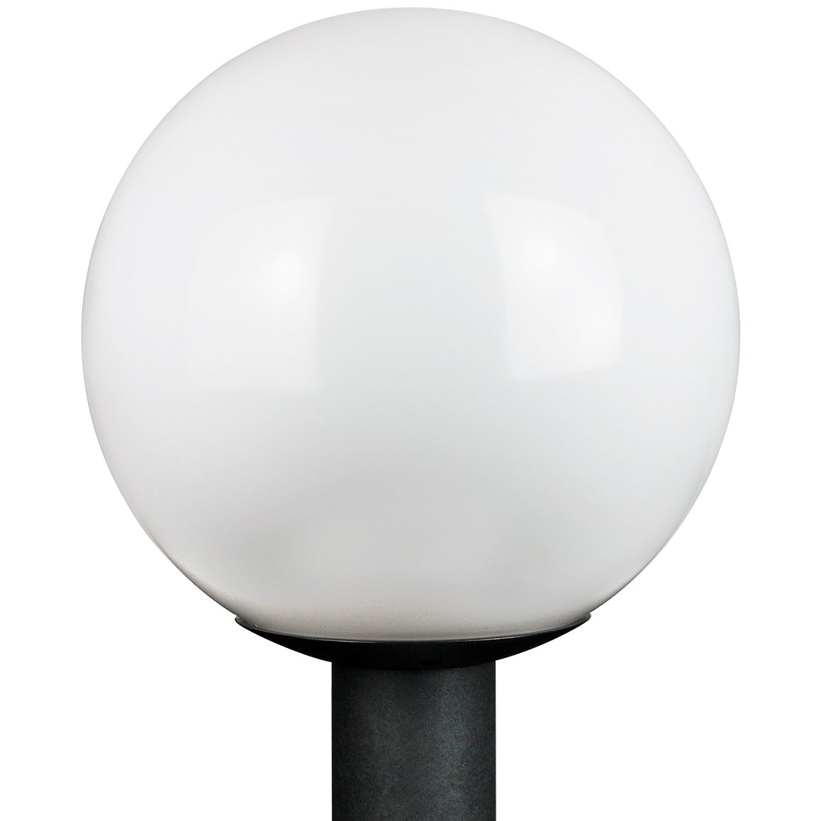 """Sunlite 47228 12"""" Decorative Outdoor Globe Polycarbonate Post Fixture, Black Finish, White Lens, 3"""" Post Mount (not included)"""