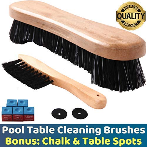 - BETTERLINE Billiard Pool Table Brushes for Rail Cleaning - Bonus Cue Chalk Cubes and Pool Table Spot Dot Stickers