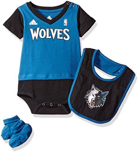 NBA Infant Minnesota Timberwolves Lil Jersey Creeper, Bib and Bootie-Capital Blue-12 Months