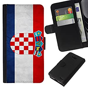 KLONGSHOP // Tirón de la caja Cartera de cuero con ranuras para tarjetas - Nacional bandera de la nación País Croacia - LG OPTIMUS L90 //