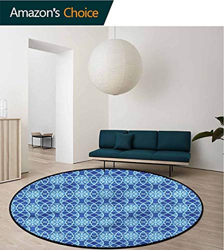 RUGSMAT Arabian Modern Machine Washable Round Bath Mat,Traditional Antique Motif Home Decor Area Rug - Upholstery Antique Traditional