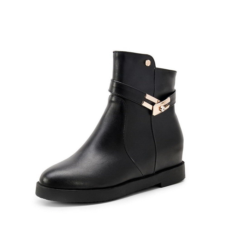 VogueZone009 Women's Low Top Solid Zipper Round Closed Toe Kitten-Heels Boots