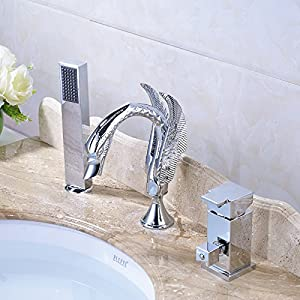Rozin Chrome 3 Holes Bathroom Sink Faucet Swan Shape Spout with Handheld Shower on sale