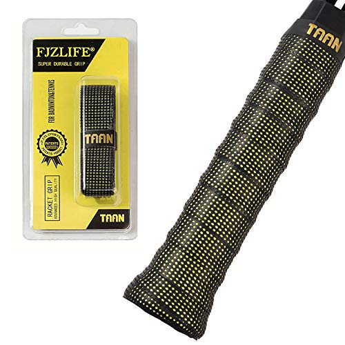 FJZLIFE Tennis Racket Grip in The TAAN Series-Classic -Perforated Super Absorbent-Ultra Cushion Replacement Tennis Overgrip for Badminton,Squash, Baseball, Table Tennis,Bike and ()