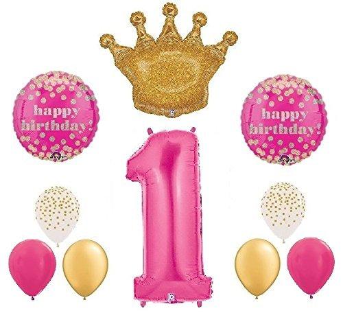 Royal Princess Crown 1st Birthday 10 Piece Mylar & Latex Balloons Bouquet Set