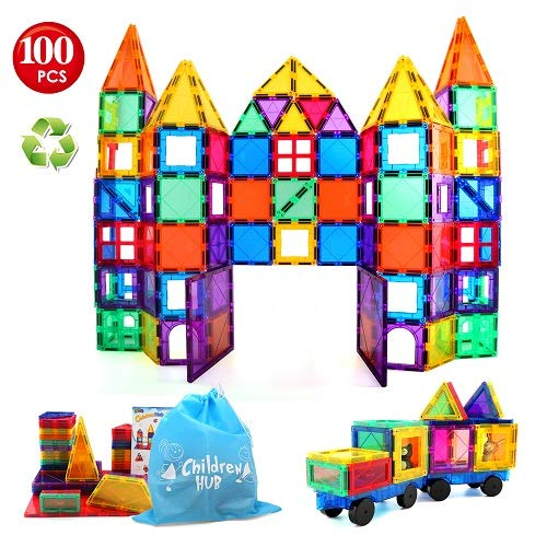 Children Hub 100pcs Magnetic Tiles Set - Educational 3D Magnet Building Blocks - Building Construction Toys for Kids - Upgraded Version with Strong Magnets - Creativity, Imagination, Inspiration (Tiles Educational)