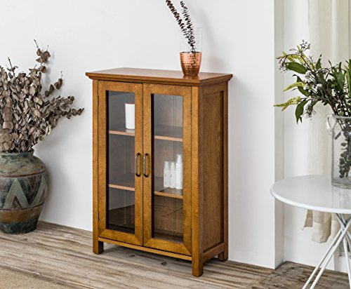 Elegant Home Fashions Weathered Logan Oak Floor Cabinet with Two Glass Doors, Wood (Pie Antique Cabinet)