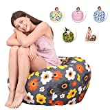 CALA LIFE Stuffed Animal Bean Bag Chair Cotton Canvas Toy Storage Sack Children's Chair Cover for Kids Toys or Household Supplies - 38'' (Gray Flora)