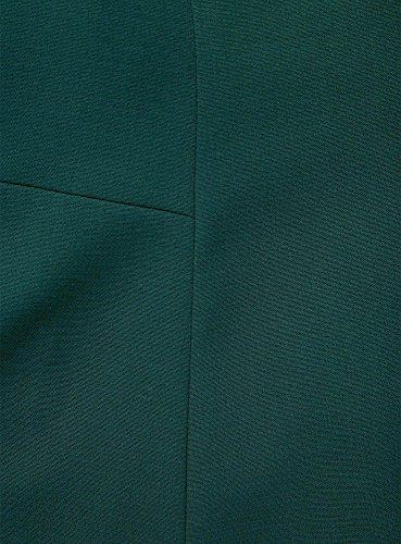 oodji Ultra Mujer Vestido de Tejido Grueso con Cuello Ovalado Verde (6900N)