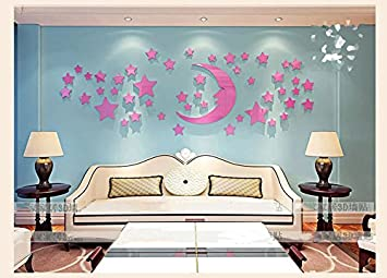 Chlwx Sterne Mond Acryl 3D Wand Eingefügt Schlafzimmer Bett Decke Leuchter  Dekoration Selbstklebende Wandmalerei, B