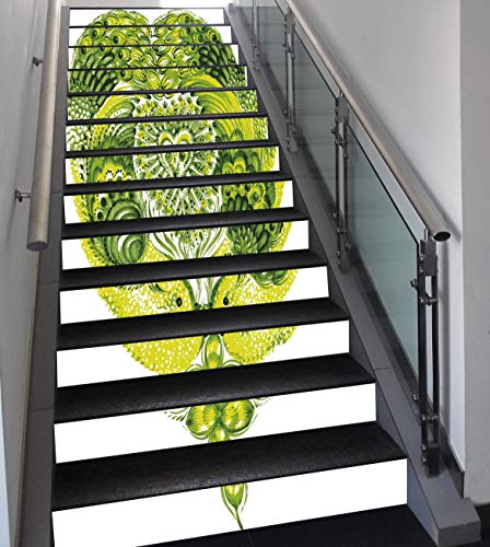 (Stair Stickers Wall Stickers,13 PCS Self-adhesive,Boho,Heart Shaped Peacock Feathers Paradise Animal with Clover Flower Zen Print,Lime and Hunter Green,Stair Riser Decal for Living Room, Hall, Kids)