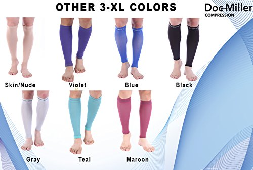 Doc Miller Premium Calf Compression Sleeve 1 Pair 20-30mmHg Strong Calf Support Graduated Pressure for Sports Running Muscle Recovery Shin Splints Varicose Veins Plus Size (Black, 3X-Large) by Doc Miller (Image #4)
