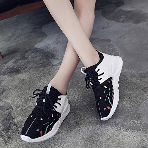 Calzado deportivo, 2017 Tefamore La Sra malla transpirable zapatillas ocasionales con cordones plana Negro