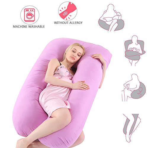 Pregnancy Pillow, U Shape Pregnant Full Body Pillow Nursing Cushion for Growing Tummy Support Full Pregnancy Body Maternity Pillow with Contoured Back Support with Zippe/Removable Cover(Purple)