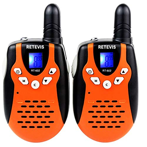 Retevis RT-602 Kids Walkie Talkies Rechargeable 22 Channel FRS VOX 2 Way Radio for Kids (Orange, 1 Pair)
