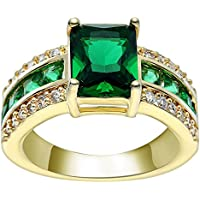 ERAWAN 18K Yellow Gold Filled Green Gemstone Ring Women Engagement Bride Jewelry Gift EW sakcharn (9 #)