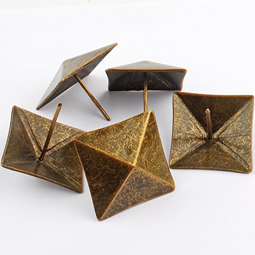 NW 10pcs Square Bronze Nail Bronze Upholstery Tacks Antique Brass Furniture Nails Pins (40x40mm) by NW