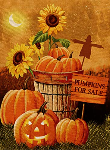 (Dyrenson Halloween Garden Flag Double Sided, Rustic Fall Quote House Yard Flag, Harvest Pumpkin Primitive Sunflower Home Garden Yard Decorations, Outside Farm Seasonal Decorative Outdoor Flag 12 x)
