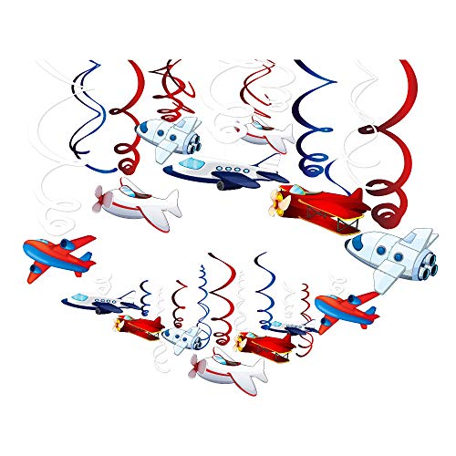 (CC HOME Airplane Party Supplies,Airplane Hanging Swirl Decoration Twinkle Hanging Ceiling Streamer Decoration Airplane Themed Birthday Party Favor Supplies for Kids Boys Girls Birthday Party ,Baby Shower , Home Classroom)