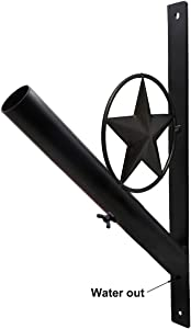 EKEV Iron Star Flag Pole Holder - Wall Decor Flagpole Mounting Bracket - Heavy Duty Wrought Iron & Weather Resistant for Pole's Diameter Up to 1.1""