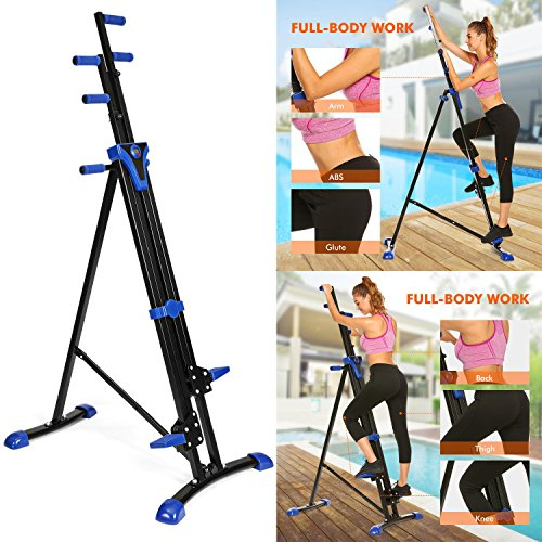 Vertical Mountain Climber Exercise Machine, 2 In 1 Foldable Vertical Stair Step Climber Stepper Exercise Fitness Climbing Machine by Evokem