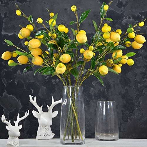 Rinlong Artificial Lemon Branches for Decoration 8stems 64 Yellow Fake Lemon Fruits Home Garden Floral Dcor