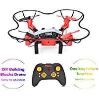 Flytec T11 Building Quadcopter Blocks Drones 2.4Ghz 4CH 6-Axis Gyro RC Quadcopter Toys Drone Good Choice for Drone Training(Red)
