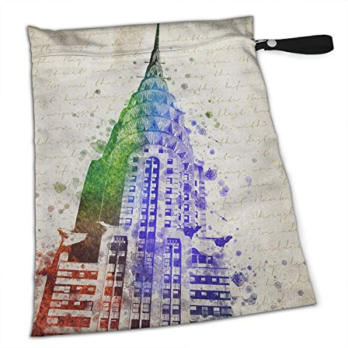 Chrysler Building Painting for Swimsuit and Towels Waterproof Kids Baby Boy Clothes Diaper Hanging Reusable Menstrual Sanitary Cloth Pads Handle Wristlet Portable Wet-Dry Bag