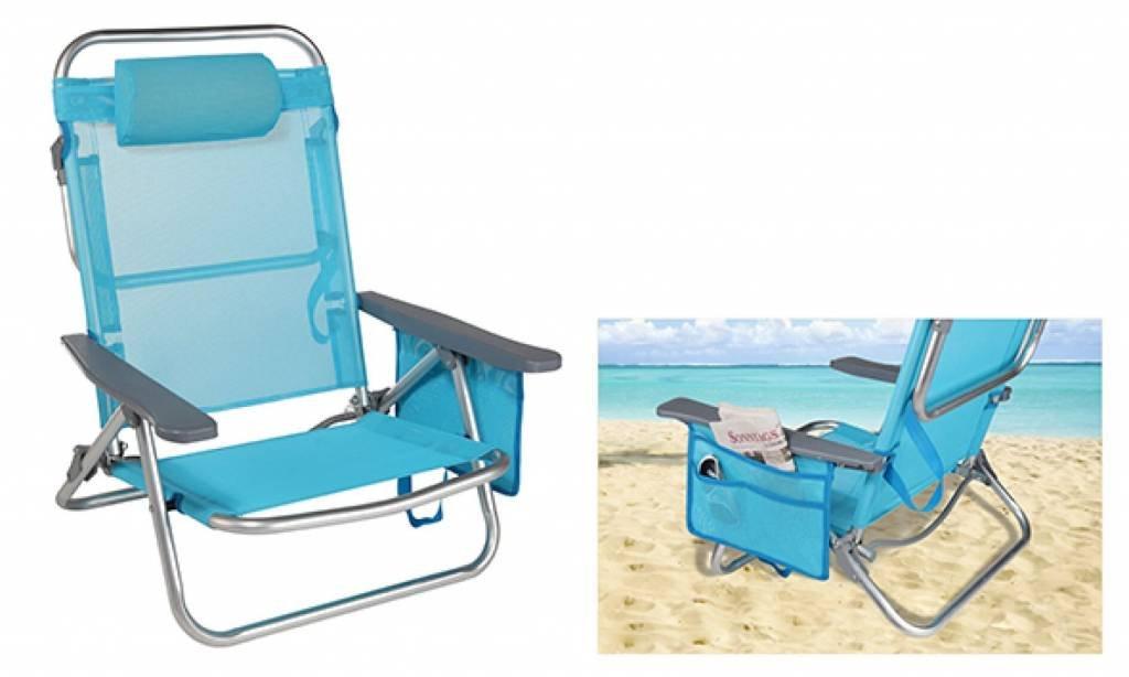 Hi Silla de playa con almohada camping Silla tumbona plegable azul: Amazon.es: Jardín