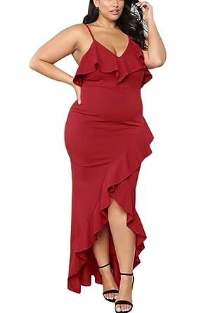 a1a9ed6dc43b ILFtrend Womens Plus Size V Neck Ruffle Trim Spaghetti Straps Cocktail Maxi  Dress (Red, (US 26-28) XXXXL): Amazon.co.uk: Clothing