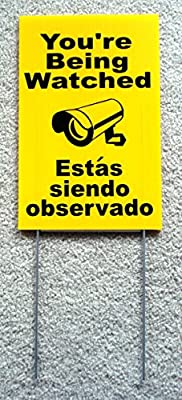 """1 Pc Prime Popular You're Being Watched Yard Signs Anti-Thief CCTV Warning 24Hr Message Size 8"""" x 12"""" with Stake Spanish"""