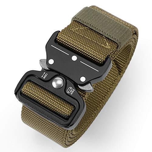 Tactical Military Webbing Nylon Belt for Men,Quick-Release Heavy Duty Web Men Belts in Metal Buckle by - Coyote Nylon Webbing