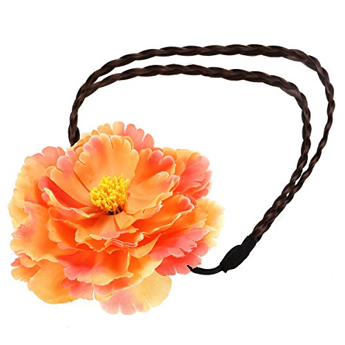 LUOEM Luau Party Hair Headbands Bohemian Peony Flower Braided Hairband (Bright Red) (Long Dress Peony)